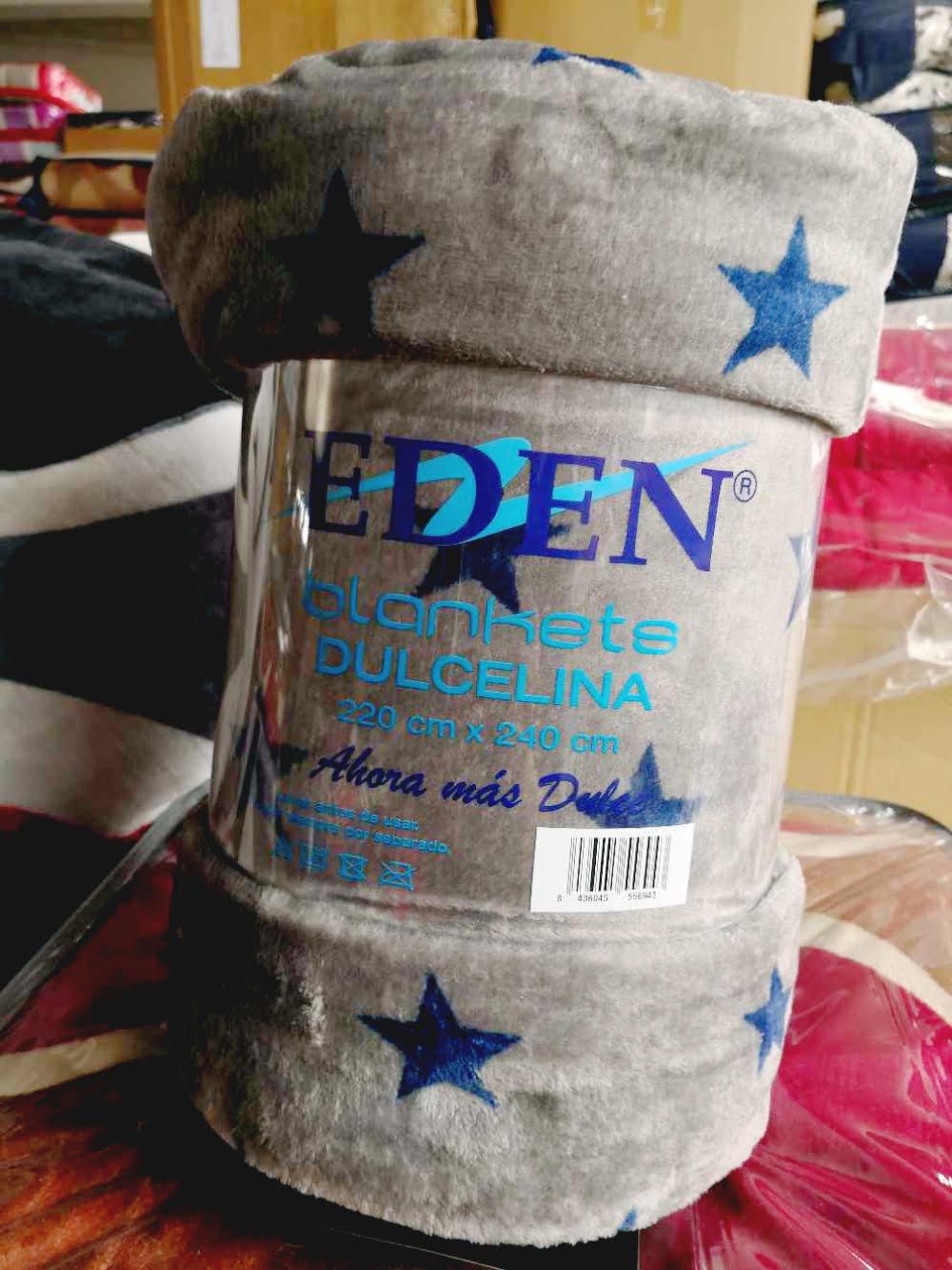 Manta Microfibra EDEN Gris estrellas Azules