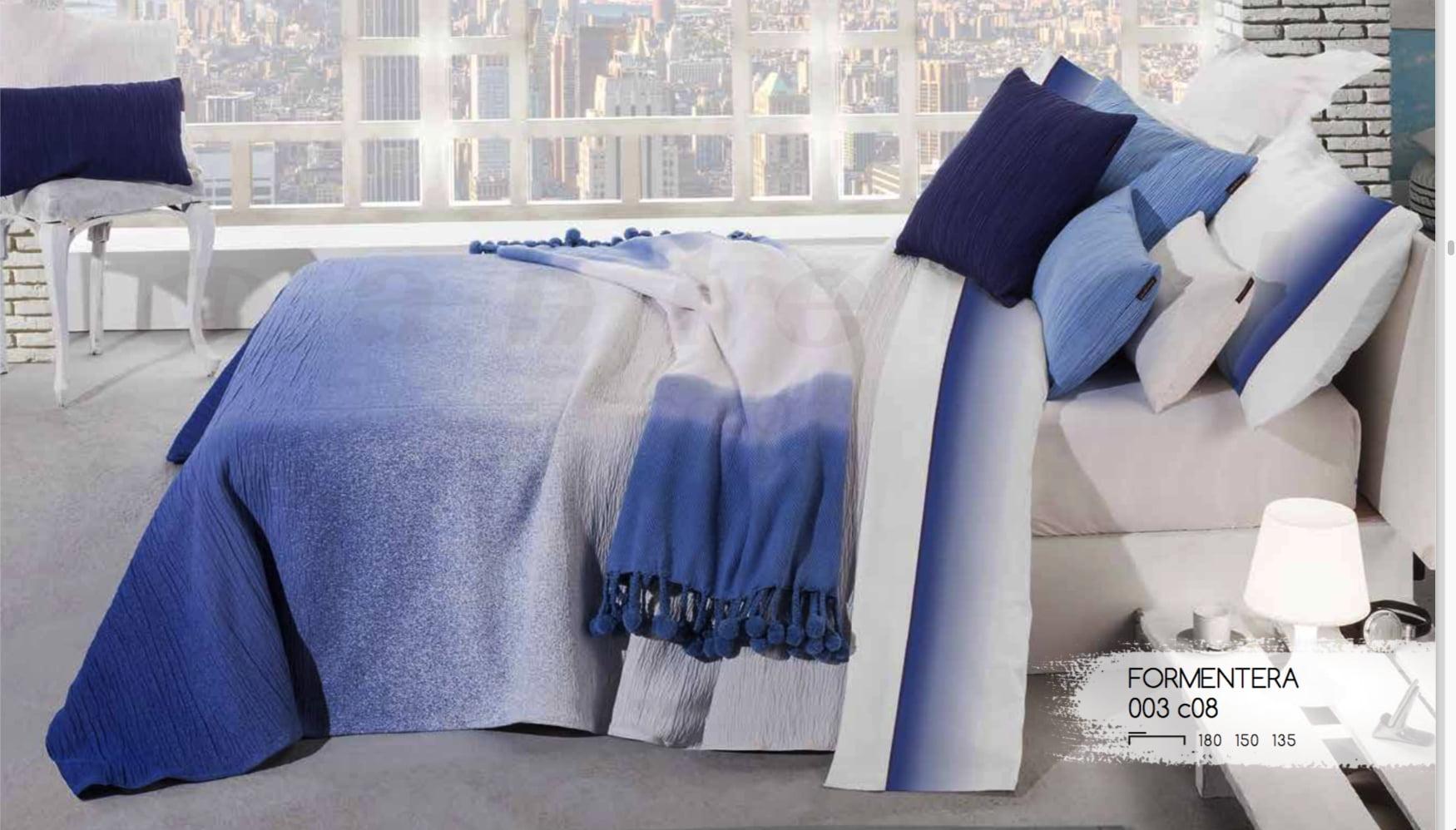 Colcha jacquard Formentera Azul