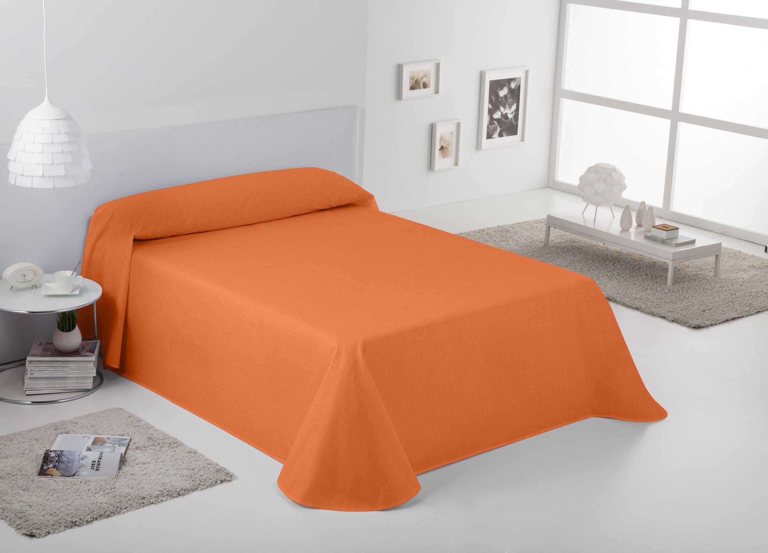 Colcha Cubrecama Rustico Liso Naranja