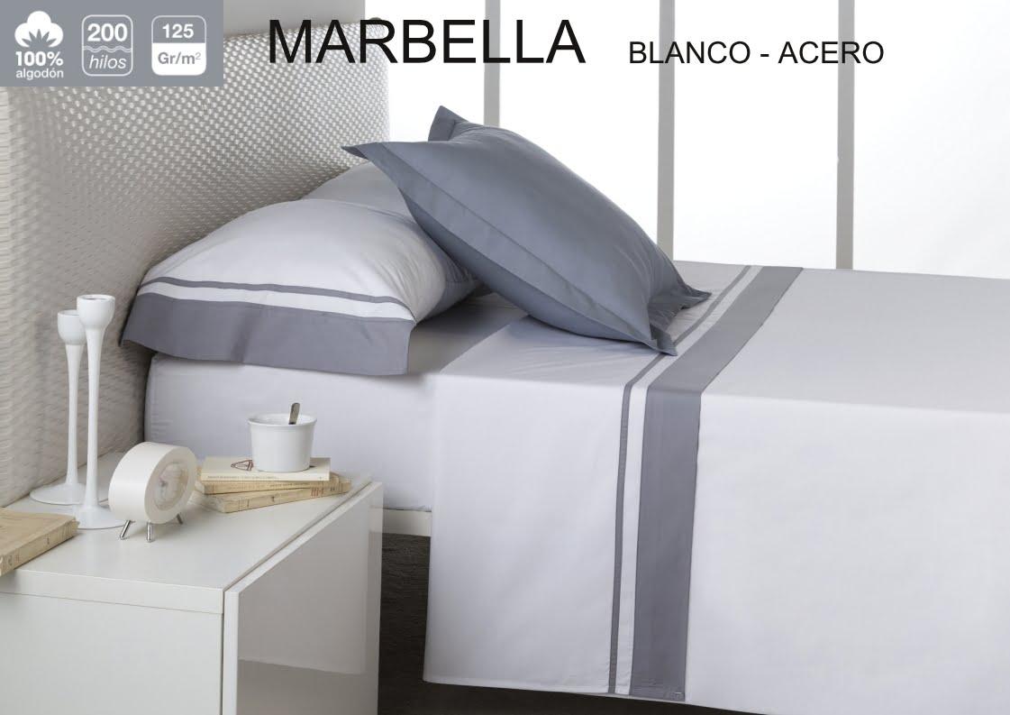 Juego Sábanas Estela Marbella Blanco-Acero