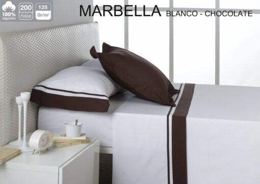 Juego Sábanas Estela Marbella Blanco-Chocolate