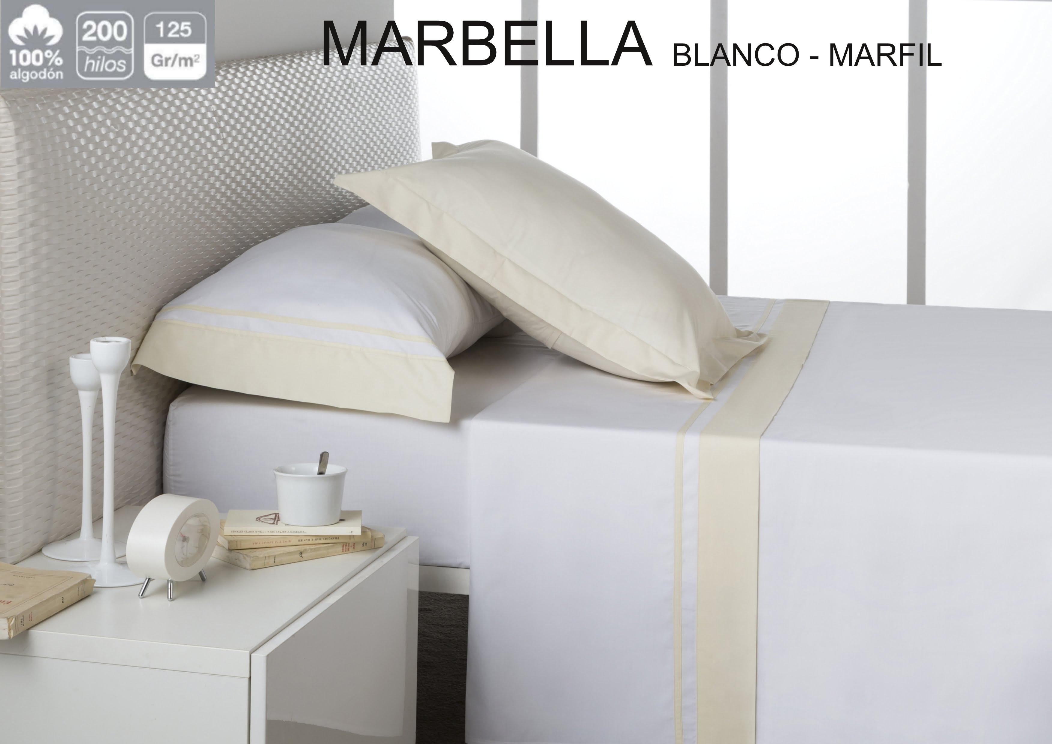 Juego Sábanas Estela Marbella Blanco-Marfil