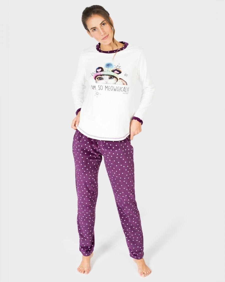 Pijama Mujer Polar Gato