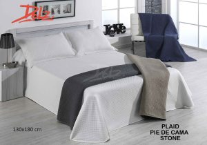 Plaid Pie de Cama Stone