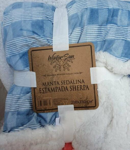 Manta Sedalina Sherpa Cuadros