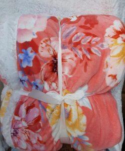 Manta Sedalina Sherpa Flores Rosa